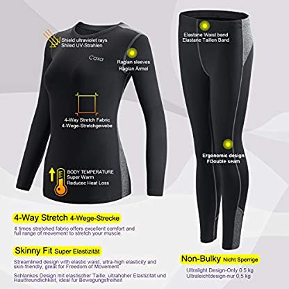 MEETYOO Women's Thermal Underwear Set, Ultra Soft Base Layer for Ladies, Fleece Lined Long Johns Sport Top&Leggings Set for Running Skiing Cycling Workout 5