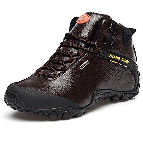 XIANG GUAN Scarpe da escursionismo da passeggio da trekking outdoor stivali in pelle per invernali uomo 81998 Marrone EU 44