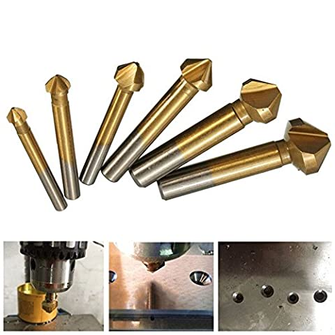 Hakkin 6pcs 90 Degree 3 Flute 6.3-20.5mm HSS Countersink Drill Bit Titanium Coated Chamfer Cutter End Mill Cutting Tool