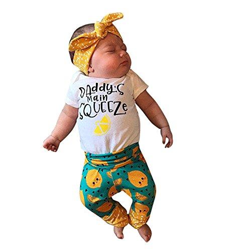 OVINEE 3 STÜCKE Neugeborenen Kleinkind Babyspielanzug Infant Girls Print Overall Kleidung Outfit Anzug Stirnband Zitrone Cartoon Set