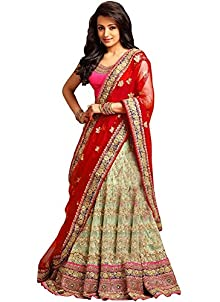 e98b5c49df9 Drashti villa Women s Heavy Embroidery Georgette and Net Lehenga Choli (Free  size) (Red