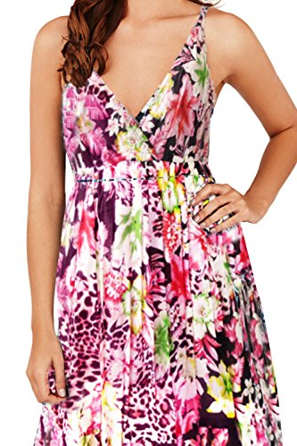 Pistachio, Damen Blumen Maxi-kleid Aus Baumwolle rosa schwarz - Blumenmuster