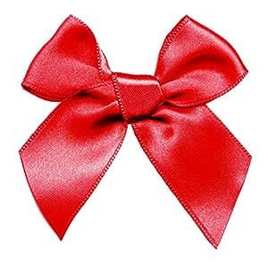 Gros noeud noué en satin rouge 204 Coloris - rouge vermillon Prix pour : 2 Aucun - N015596XU/0204 - La Mercerie Chic - Customisation & Bijoux
