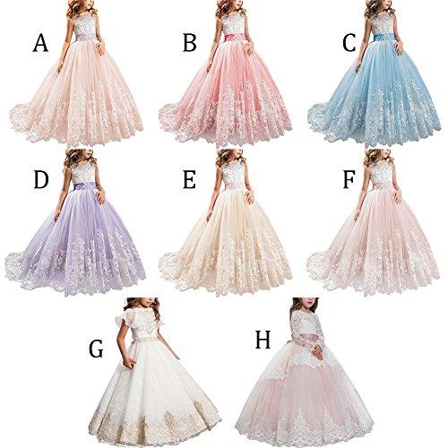 e4965649d9dd8 Vestito Principessa per Ragazza Elegante Floreale Fiore Pizzo Abiti ...