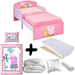 Bebegavroche Pack completo Premium cama Peppa Pig PTIT Bed = cama + colchón &–Juego + edredón + almohada