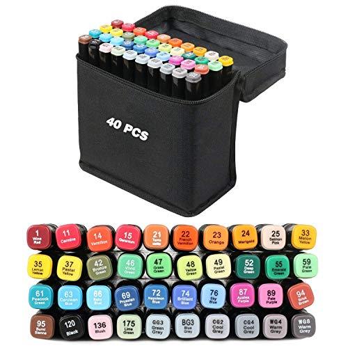 AVNTEN marqueurs permanents,Marker Lot de 40 marqueurs à feutre alcool double pointe Animation Art Esquisse (Coquille noire)