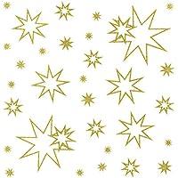 """17 Stück goldglitter mit rot Fensterbilder /""""Sterne/"""""""