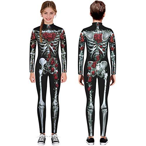 Kostüm Scary Bilder - TIREOW Skelett Overall Mädchen Jungen Knochen Skelett Halloween Kostüm Body Anzug Karneval Fasching (L, Schwarz)