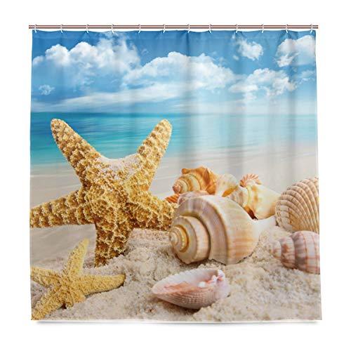 vinlin Strand Seestern Seashell Wasserdicht Badezimmer Zubehör Vorhang für die Dusche Badewanne Vorhang 182,9x 182,9cm