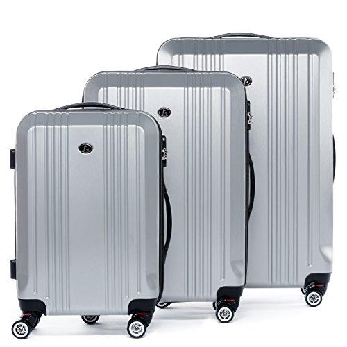 FERGÉ set di 3 valigie viaggio CANNES - bagaglio rigido dure leggera 3 pezzi valigetta 4 ruote girevole argento