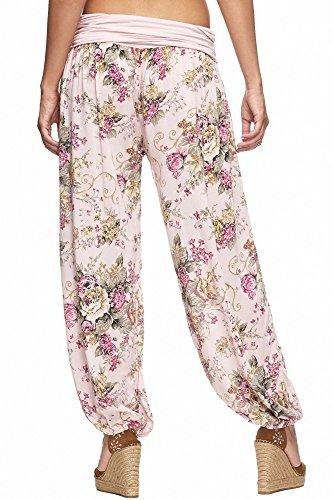 Zarlena Damen Pumphose Pluderhose Aladinhose Hose Floralmuster Blumenmuster Rosa mit Blumen TPT1-PNK
