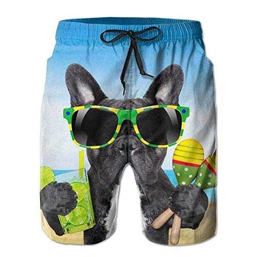 Cool Bulldog PatternMens Quick Dry Swim Trunks Athletic Beach Board Shorts PantsL ()