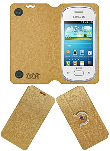 Acm Designer Rotating Flip Flap Case for Samsung Galaxy Star S5280 S5282 Mobile Stand Cover Golden  available at amazon for Rs.399