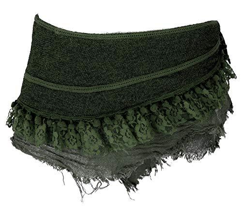Guru-Shop Goa Cacheur, Minirock, Wickelrock Gürtel, Damen, Tannengrün, Baumwolle, Size:L (40), Röcke/Kurz Alternative Bekleidung