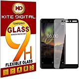 Kite Digital Compatible with Nokia 6.1 (2018) Black 5D/6D/11D Tempered Glass Screen Protector Slim 9H Hard 2.5D