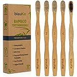 Brosse à Dents En Bambou - Ensemble de 5 Pièces: 4 Brosses a Dents En Bambou aux Poils Blancs + 1 Brosse à Dents En Bambou Poils De Charbon - Brosse à Dents En Bois Biodégradable Écologique - BlauKe