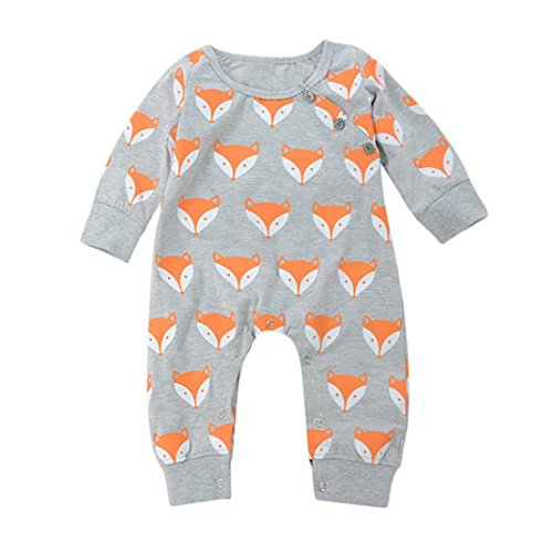 Unisex - Baby Body Longra Baby Overall Strampler Jungen Mädchen Kleidung Neugeborenen Baby Fox Print Warme Strampler Overall Kleidung Anzug (Gray, 70CM 6Monate)