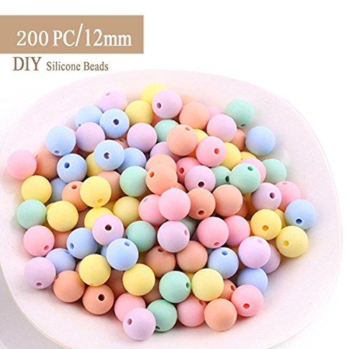 Best for baby 200pcs (12mm) Süßigkeiten Silikonperlen DIY Baby teether Halskette Armband Nippelclip Zubehör Baby spielzeug Geschenk