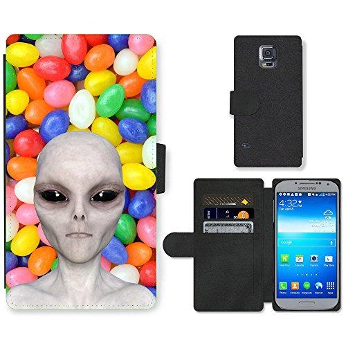 Grand Phone Cases PU Flip Carcasa Funda de Cuero Piel Cubre Case // Q05510666 Alienígena nuevo Caramelo afrutado // Samsung Galaxy S5 S V SV i9600 (Not Fits S5 ACTIVE)