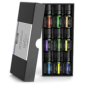 Ätherische Öle Set Anjou 100% Reines Aromatherapie Öl Kit 9 x 5 ml Geschenkset(Lavendel, Bergamotte, Salbei, Grapefruit, Palmarosa, Zimtbaum, Weihrauch, Zitrone & Ylang-Ylang)