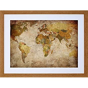 Large framed world map 54 x 38 amazon kitchen home map globe world atlas antique style modern layout framed print picture f12x513 gumiabroncs Image collections