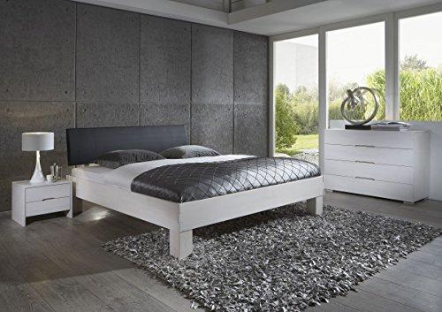 Dreams4Home Schlafzimmerkombination Massivholzbett, Bett, Massivholz, Buche \'Padua\' 90, 100, 120, 140, 160, 180, 200x200 cm, weiß gebeizt, Liegefläche:140x200 cm