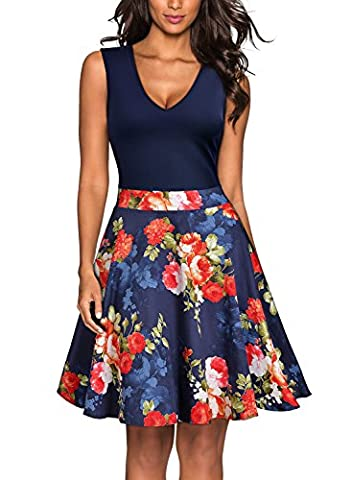 MIUSOL Women's Vintage 1940s Tea Floral Sleeveless Halter sual Party Dresses for Women(Blue,XL-14)