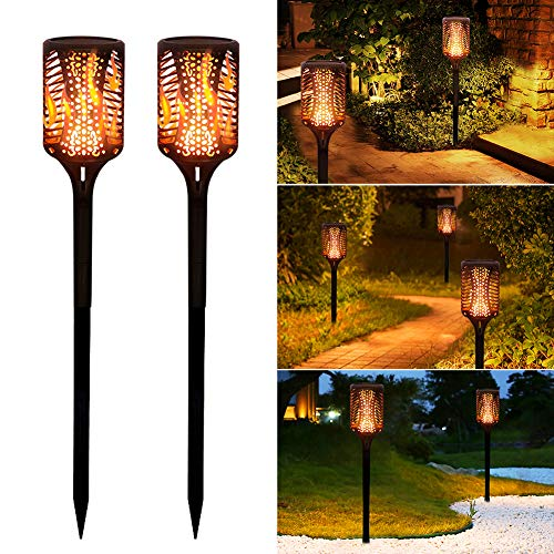 housesweet Solar Taschenlampe Wasserdicht Flackernde Flammen Solarleuchten Outdoor Garten Landschaft Dekor Warmes Licht - Flackernde Flamme-licht