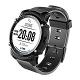 SODIAL FS08 Bluetooth Smart Uhr Wasserdicht IP68 Schwimmen GPS Sport Fitnes Tracker Stoppuhr Pulsmesser Armbanduhr Schwarz