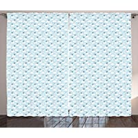 ERCGY Nursery Curtains, Baby Themed Repetitive Pattern of Clouds and Storks in Sky, Living Room Bedroom Window Drapes 2 Panel Set, 110 inch X 86 inch, Baby Blue Sea Blue White Grey