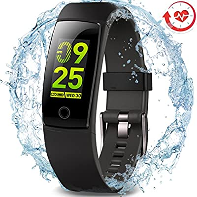 MorePro Waterproof Fitness Tracker, Color Screen Activity Tracker with Heart Rate Blood Pressure Monitor, Wearable Smart Bracelet Pedometer Watch with Sleep Monitor for Woman Men Kids, Black from MorePro