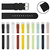 ARCHER Watch Straps Quick Release Silicone Soft Rubber Replacement Bands (Black, 18mm)