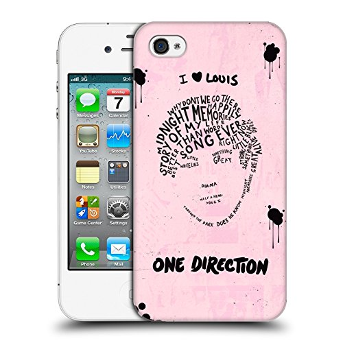 Head Case Designs Offizielle One Direction Louis Rosa BG Text Illustration Faces Harte Rueckseiten Huelle kompatibel mit iPhone 4 / iPhone 4S