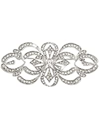 EVER FAITH® - Art Deco Brial Broche Claro Cristal Austriaco Plata-Tono N04247-1