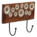 #5: Jamun Large Vintage Double Hook Rack in Wood & Wrought-Iron Hanger - Modern Hanging Coat and Hat Rack / Decorative 10 Inch Wall Mount Hooks Decor for Kitchen / Bedroom Decorations