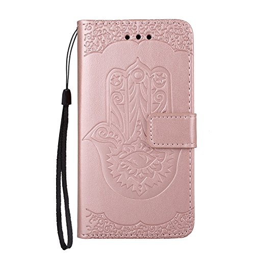 EKINHUI Case Cover Geprägte Floweer Muster Retro Art PU-lederne Fall-Abdeckung mit Mappen-Beutel u. Lanyard u. Kickstand für iPhone 5s u. SE ( Color : Purple ) Rosegold