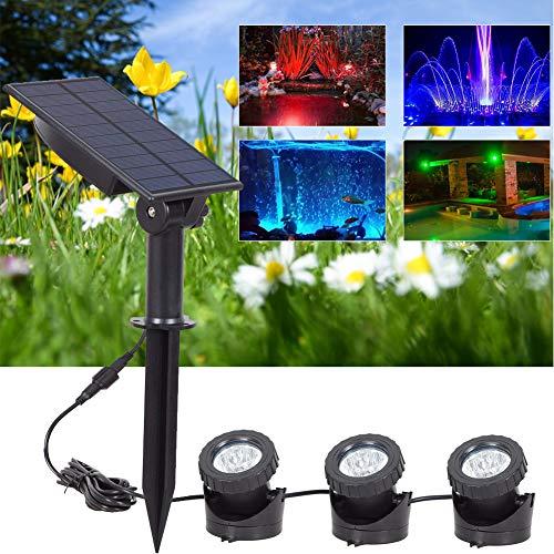 SUPEWOLD Unterwasser-Teich-Licht, solarbetriebene LED-Strahler für den Außenbereich, wasserdicht, Garten, Hof, Pool, Teichbeleuchtung, Landschaftslampe, 18 LEDs