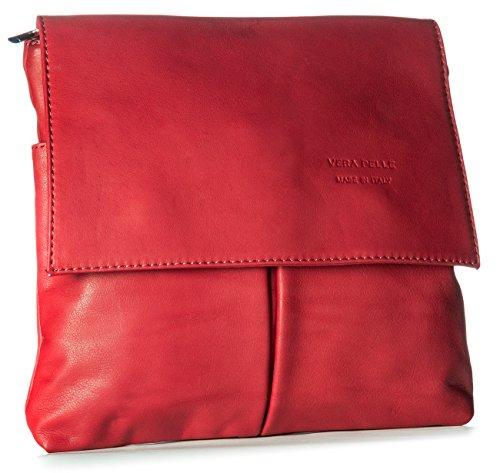 Bhbs Ladies Cross Body Bag Con Vera Pelle Morbida 27 X 24,5 Cm (lxh) Rosso