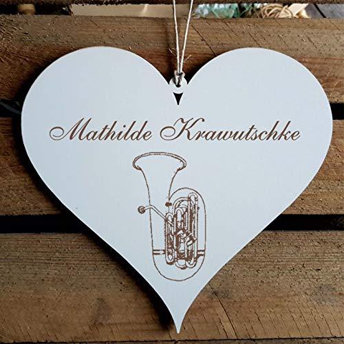 Schild Herz « Tuba » mit persönlicher Wunschgravur - Deko Dekoration Türschild Name - Instrument Orchester
