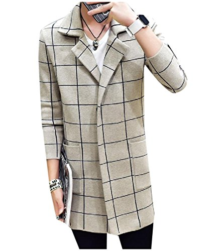 Tootlessly Men's Simple Plaid Notch Lapel Kintted Trench Coat Outwear