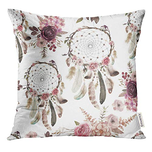 American Home Dream Flower (Throw Pillow Cover Watercolor Ethnic Boho Floral Dream Catchers and Flowers Native American Tribe Tribal Navajo Bohemian Decorative Pillow Case Home Decor Square 18X18 Inches Inches Pillowcase)
