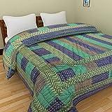Cloud Mart Jaipuri World Famous Light Weight Pure Cotton Gold Print Blue Colour Double Bed Quilt/AC Quilt/Rajai / Razai