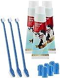 Sweetypet Zahnpflegesets für Hunde: 4in1-Zahnpflege-Set f. Hunde: Zahnpasta, Zahn- & Fingerbürsten,3er-Set (Sets mit Zahnbürsten für Hunde)
