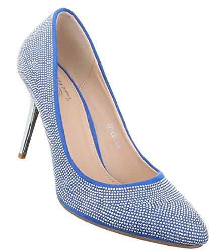 d712fa18e2a0 Damen Pumps Schuhe High Heels Stöckelschuhe Stiletto Schwarz Blau 36 37 38  39 40 Blau