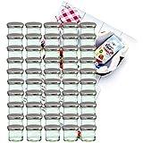 50er Set Sturzglas 125 ml Marmeladenglas Einmachglas Einweckglas To 66 silberner Deckel incl. Diamant-Zucker Gelierzauber Rezeptheft