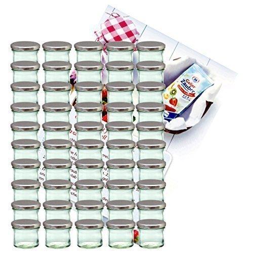 MamboCat 50er Set Sturzglas 125 ml Marmeladenglas Einmachglas Einweckglas to 66 Silberner Deckel Incl. Diamant-Zucker Gelierzauber Rezeptheft