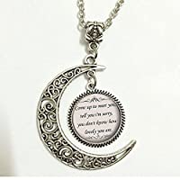 Charm Crescent Moon Quote Necklace - Coldplay The Scientist Song Lyrics Quote - Romantic Music Pendant - Silver Cute Jewelry Gift