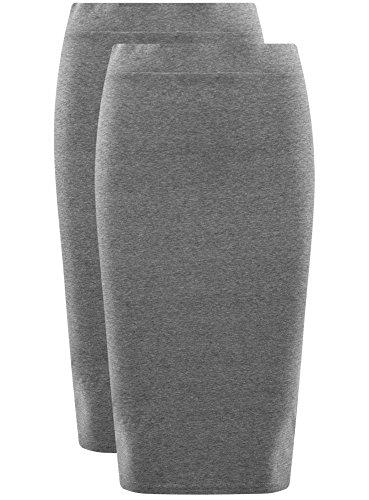 oodji Ultra Damen Bleistiftrock (2er-Pack) Grau (2300N)