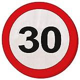Papierservietten 30er Geburtstag Verkehrsschilder Servietten 33 x 33 cm Partyservietten Papier Serviette Motivservietten Geburtstagsservietten Einwegservietten Geburtstagsparty Tischservietten