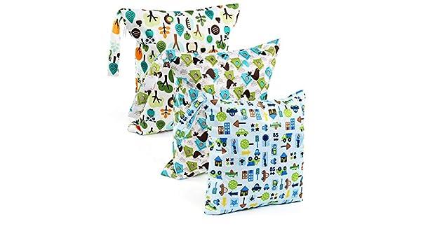 Minuya Baby Wickeltaschen Reisen Windeltasche f/ür Nasse und Trockene Kleidung Wasserdicht Waschbar Rei/ßverschluss Nasstaschen 2 St/ück//Set